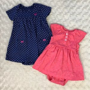 Carter's Dress Bundle 3 & 6 Months Blue White Dot